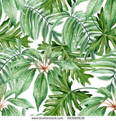 Tropical leaves, dense jungle. Seamless, hand painted, watercolor pattern. Vector background. - stock vector