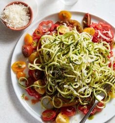 """What's for dinner? Zucchini """"Pasta"""" is our go-to. Just toss with what's #inseasonnow. We've subbed our usual butternut squash for cherry tomatoes. Get more spiralizer ideas Sunday at our in-store technique class featuring our @KitchenAid Mini + Spiralizer Attachment! Get class details + recipe by tapping the link in our Instagram profile. #zoodles"""