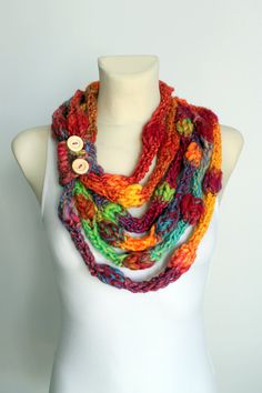 Knit Infinity Scarf  Rainbow Knitted Shawl  Infinity by LocoTrends