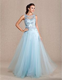 Sheath/Column Jewel Floor-length Tulle Evening Dress