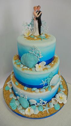 Sea themed wedding cake by Willi Probst Bakery Team country chocolat mariage cake cake country cake recipes cake simple cake vintage Pretty Cakes, Beautiful Cakes, Amazing Cakes, Beach Themed Cakes, Beach Cakes, Wedding Cake Decorations, Wedding Cake Designs, Wedding Ideas, Seashell Wedding