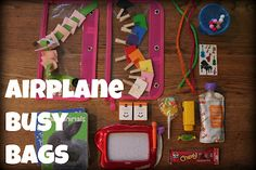 La vida leipprandt: airplane busy bags for toddlers toddler airplane activities, busy bags for Toddler Busy Bags, Toddler Fun, Kids Bags, Road Trip Activities, Activities For 2 Year Olds, Learning Activities, Toddler Airplane Activities, Infant Activities, Traveling With Baby