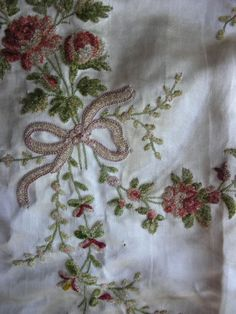 18th century silk embroidered waistcoat with roses and bows