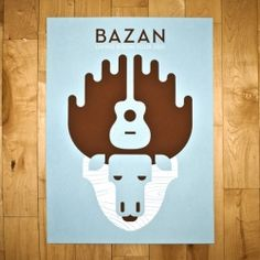 concert poster #bazan #banditodesign  --great use of positive and negative space to create a form. Cool!