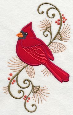 "Elegant Cardinal Spray (Applique)	Product ID:	Y4646 Size:	5.7""(w) x 9.4""(h) (144.7 x 238.7 mm)	Color Changes:	11 Stitches:	20072	Colors Used:	9"