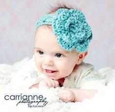 Crochet flower headband (: