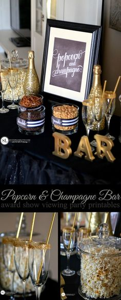 Popcorn and Champagne Bar | #Grammys #Oscars award show viewing party with free printables #Michaelsmakers @michaelsstores #madewithmichaels