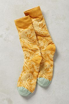 Anthropologie | gold print socks