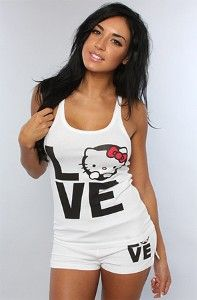 Kelly in hello kitty summer pjs Hello Kitty Clothes, Hello Kitty Items, Sanrio Hello Kitty, Lazy Day Outfits, Swag Outfits For Girls, Cute Outfits, Sexy Pajamas, Girls Pajamas, Cute Sleepwear