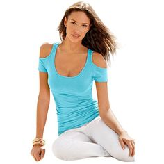 Kwok BlouseWomens Dew Shoulder Short Sleeves TShirt Blouse M Sky Blue ** Be sure to check out this awesome product.