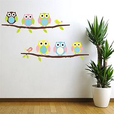 Fresh Cartoon Cute Six Owl on the Tree DIY Wall Wallpaper Stickers Art Decor Mural Kid us Child