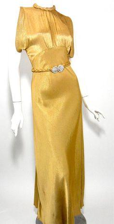 1930s gold dress.