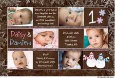 """twin girl birthday party invitations - christmas time// Rosalee & Lillianna were the day after. Love the cute rhyme. """"it's been a year full of love, laughter & fun. Celebrate with us, our little snowflakes are turning one!' SO cute"""