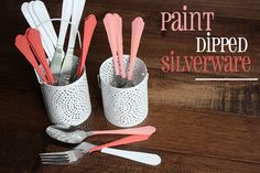 Painted Silverware - use plasti dip from the hardware store to match your mismatched silverware to your decor