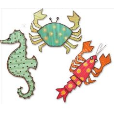 Metal Wall Decor, Seahorse, Lobster, Crab Set of 3 - Beach Decor Shop