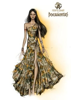 Pocahontas by Roberto Cavalli #bocetos #moda #vestidos