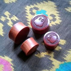 """Pair of Saba wood """"O Mysterious Ghost"""" Designed Double Flare Plugs - Available SIZE and - Engraved Wooden Plugs Wooden Plugs, Mysterious, Body Jewelry, Cool Stuff, Stuff To Buy, Flare, Mystery, Pairs, Creative"""