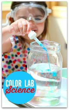 Experiment with liquids! Using shaving cream, water, and vinegar mix with water color in different jars to watch how density affects the colored liquid. Color Lab Science is a great exercise for teaching kids about science via No Time For Flash Cards #STEM #Education #DIY