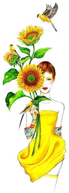 Miss Sunshine, inspired by bright sunflowers and the lovely Christian Dior Spring 2013 couture collection. Illustration by Sunny Gu. #fashion #illustration #fashionillustration #watercolor