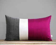 Fuchsia Silk Colorblock Pillow Cover in Cream and Charcoal Gray by JillianReneDecor, Luxury Gift for Her, Hot Pink Magenta Holiday Magenta, Purple, Swatch, Luxury Gifts For Her, Diy Pillow Covers, Silk Pillow, House And Home Magazine, Red Silk, Fall Home Decor