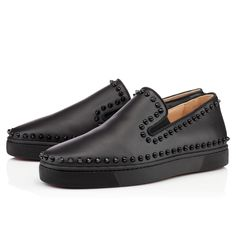 PIK BOAT CALF, BLACK, Calf, Men Shoes, Louboutin.