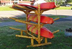 Portable Kayak Rack! #6place  A wood storage solution for kayaks! Canoe Storage, Wood Storage, Kayak Rack, Log Homes, Storage Solutions, Kayaking, Garden Tools, Photo Galleries, Rustic
