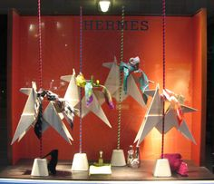 Hermes, Amsterdam Great window! Origami birds with scarves!!