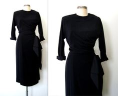 1960s ✦ Ruched Little Black HUGE BOW Cocktail Dress  by LolaVintage on Etsy. http://etsy.me/1leKnPP