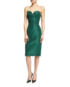 Strapless+Sweetheart-Neck+Cocktail+Dress,+Forest+Green+by+Zac+Posen+at+Neiman+Marcus.