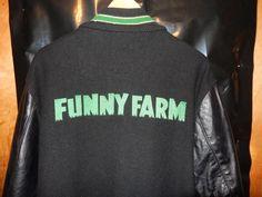 09c4396fa VTG 1980 s Nike FUNNY FARM Crew Jacket sz 42 Bomber Varsity Leather Wool  RARE og