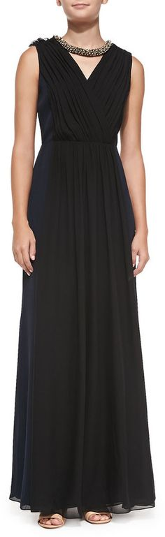 $1,295, Tory Burch Meryl Pleated Silk Gown. Sold by Neiman Marcus. Click for more info: https://lookastic.com/women/shop_items/90694/redirect