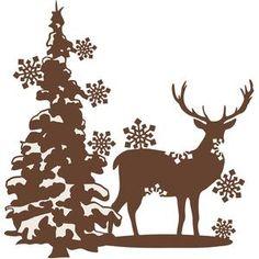 Silhouette Design Store: reindeer snowflake scene