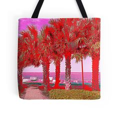 Palm Trees in Red by Debra Martz  http://www.redbubble.com/people/debramartz/works/14724620-palm-trees-in-red?p=tote-bag