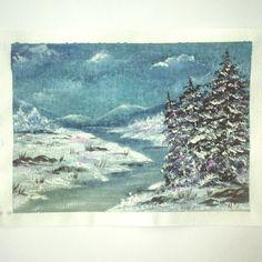 7x5 original mounted acrylic art painting winter landscape 134 £14.00