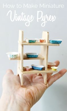 how to make miniature vintage dollhouse Pyrex- you won't believe what is used to…
