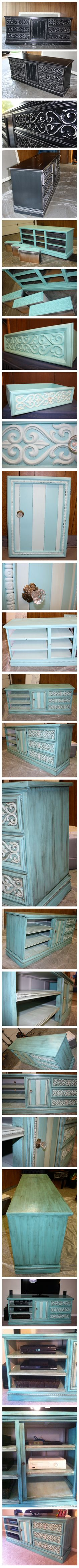 Repurpose a dresser to be an entertainment center! From start to finish!