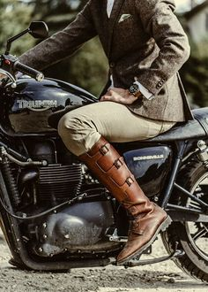 Dead Stylists Society - This is a re-pin but ain't just love the boots and the Triumph vintage motorcycle.