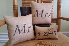 Mr and Mrs Pillow Wedding gift mini by KelleysCollections on Etsy