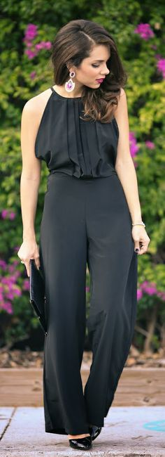 19 Stylish Black Jumpsuit Outfit Ideas Perfect for Every Occasion ( Part Elegant Woman, Schwarzer Overall Outfit, Jumpsuit Elegante, Elegantes Outfit, Glamour, Classy And Fabulous, Fashion Outfits, Womens Fashion, Ladies Fashion