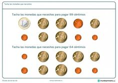 Ficha de qué monedas hacen falta para Primaria Learning Spanish, Math Activities, Euro, Coins, Ideas Para, Montessori, To Tell, Paper, Shopping