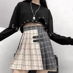 Egirl Fashion, Kpop Fashion Outfits, Edgy Outfits, Grunge Outfits, Cute Outfits, Japanese Fashion, Korean Fashion, Look Dark, Plaid Pleated Skirt