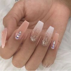 Spring Nail Art Designs for Women 2020 Summer Acrylic Nails, Best Acrylic Nails, Acrylic Nails With Glitter, Gold Glitter, Gorgeous Nails, Pretty Nails, Perfect Nails, Henna Tattoo Muster, Gel Nails