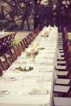 Lovely outdoor setup for reception tables