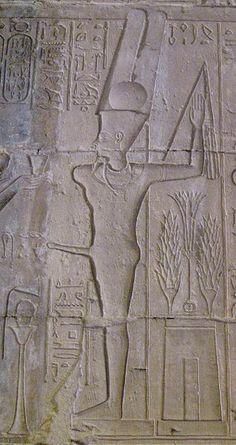 Amun-Ra kamutef. Deir el Medina (The Place of Truth). Amun-Min as Amun-Ra ka-Mut-ef from the temple at Deir el Medina.