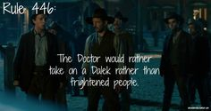 Rule 446: The Doctor would rather take on a Dalek than frightened people. (Image still by Jenna from A Town Called Mercy)