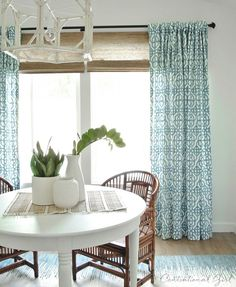 blue and white window panels