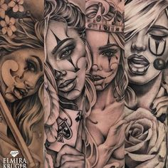 My queens The point is not to fill any woman – Tattoos Gangster Tattoos, Dope Tattoos, Hand Tattoos, Payasa Tattoo, Clown Tattoo, Inca Tattoo, Best Sleeve Tattoos, Badass Tattoos, Tattoo Sleeve Designs