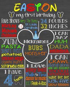 * This listing is for a customized birthday poster/sign. Birthday posters are great for your child's birthday party, photo shoot, smash cake Mickey Mouse 1st Birthday, 1st Birthday Themes, Baby First Birthday, Birthday Posters, Birthday Ideas, Mickey Smash Cakes, First Birthday Chalkboard, First Birthdays, Photo Shoot