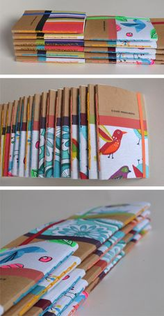 Really cute bookbinding method if you only use one signature inside, vertical coptic bind