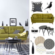 black and white interior design with lime green sofa, chartreuse, pantone golden lime, retro interior Black And White Interior, White Interior Design, Interior Decorating, Living Room Green, Living Room Sofa, Living Spaces, Living Rooms, Green Accent Walls, Sofa Colors